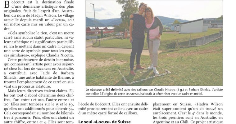 Locus Non Consequensia Switzerland – Quotidien Jurassien newspaper article – 14 September 2019