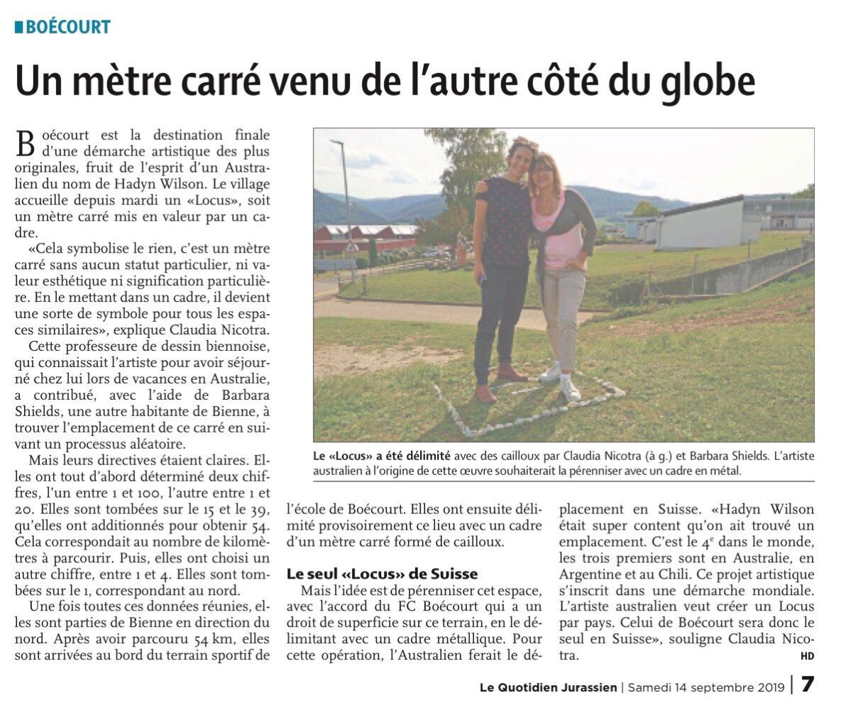 Locus Non Consequensia Switzerland – Quotidien Jurassien newspaper article – 14 September 2019