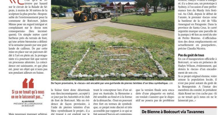 Locus Non Consequensia Switzerland – Le Journal Du Jura – Newspaper Article – 21  September 2019