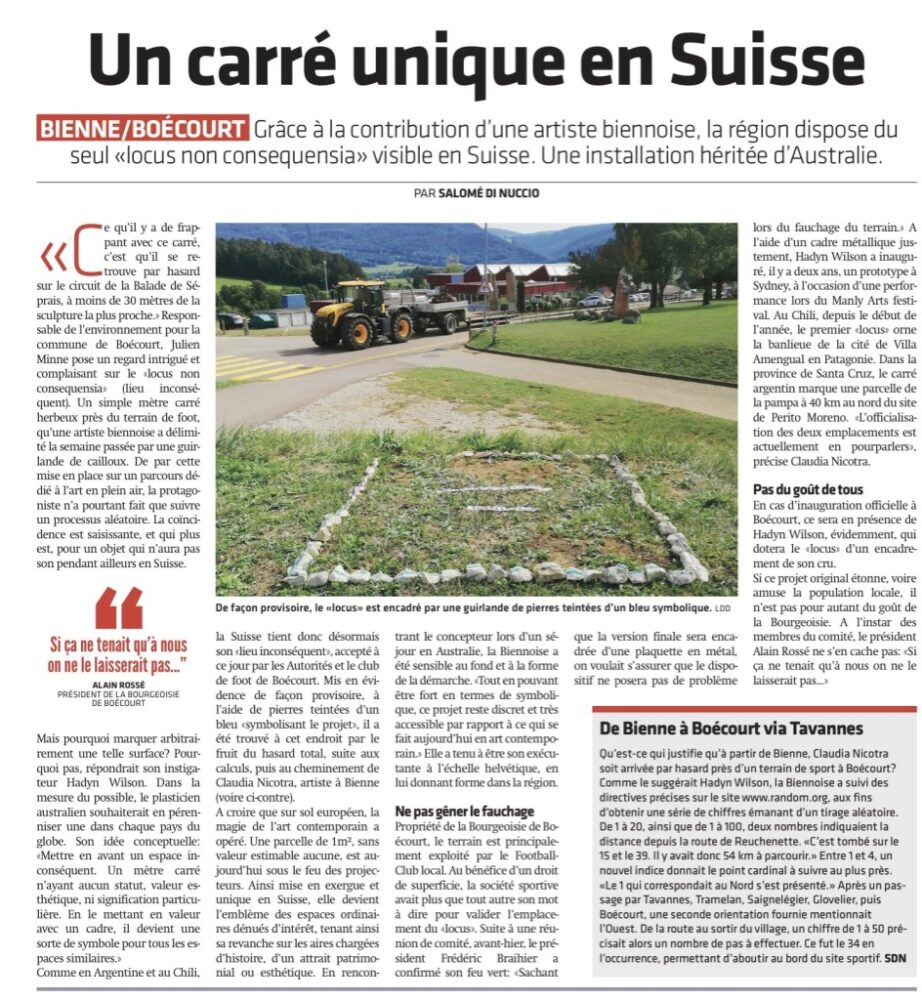 Locus Non Consequensia Switzerland – Le Journal Du Jura – Newspaper Article – 21  September 2019